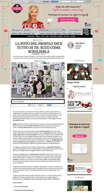 Articolo pubblicato da Badoo.com su «Style.it/casa» con i consigli di Fabio Boccaletti per creare una foto di profilo bella ed efficace.
